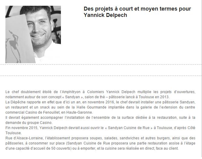 Des projets à court et moyen termes pour Yannick Delpech, B.R.A. Tendances Restauration 04-11-2015