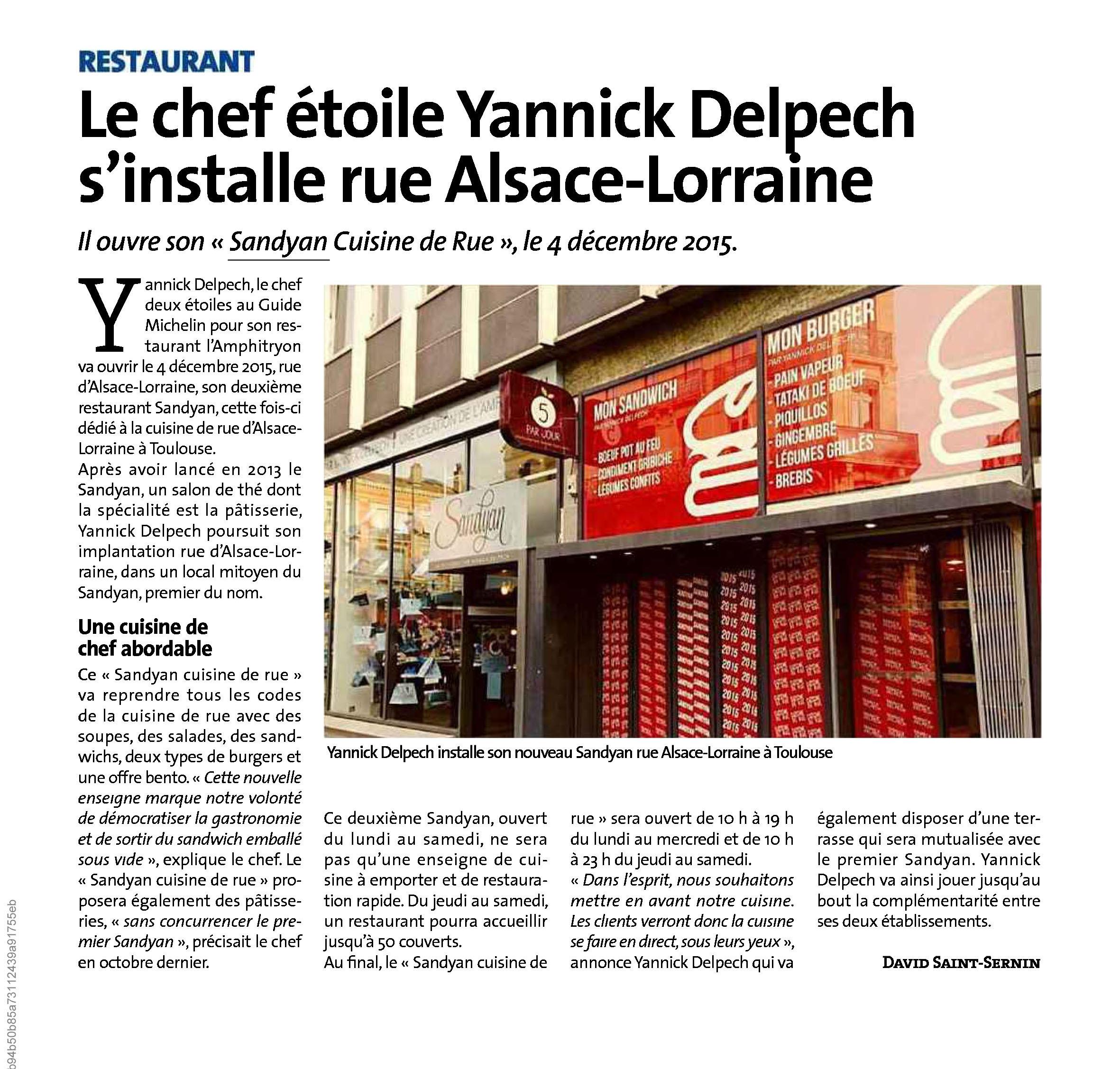 Le chef étoilé Yannick Delpech s'installe rue Alsace – Lorraine, Voix du Midi 26-11-2015